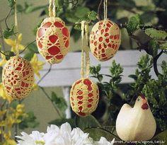 Обвязка пасхальных яиц крючком - 7 схем