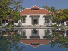 Swimming pool and seating area at Amantaka, Laos