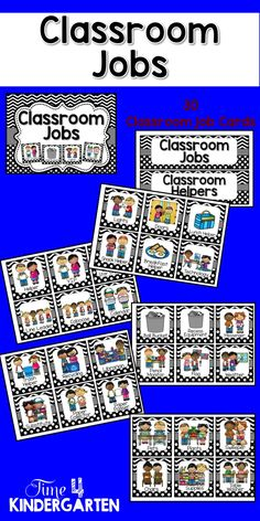 30 black and white dots and chevron framed job cards and 2 job header cards. These will look great in a polka dot or chevron themed classroom. Kindergarten Classroom Management, Kindergarten Math Games, Classroom Helpers, Rhyming Activities, Classroom Jobs, Classroom Organization, Classroom Decor, Autism Classroom, Future Classroom