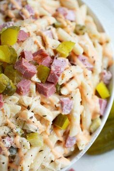 All of the amazing flavors of your favorite Reuben Sandwich in a delicious creamy pasta salad! Corned beef, swiss, sauerkraut and pickles are tossed with a simply delicious dressing for one the best potluck salads you've ever had!