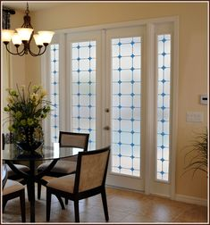 Stained Glass Privacy Window Film Monterey Bay Features Blue Stained Glass Medallions And Lite Frost | Wallpaper For Windows