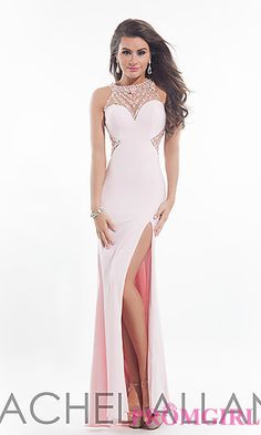 Long Jersey Formal Dress by Rachel Allan at PromGirl.com Style: PT-RA-6984 Details: Beaded Details, Sheer Back, Side Slit Fabric: Jersey Length: Floor Neckline: Illusion Sweetheart Waistline: Natural