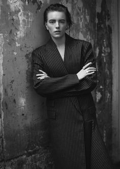 Erika Linder by Stefan Zschernitz for Twin Magazine #9 Fall 2013.  #suit #tailoring #stripe