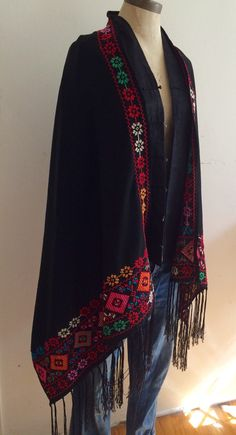 Gorgeous Vintage Embroidered Shawl Throw over jeans or dress up with a black dress or pants Really unique and elegant. Hand Embroidery Flowers, Hand Embroidery Designs, Embroidery Dress, Frock Models, Kashmiri Shawls, Ukrainian Dress, Fabric Paint Designs, Palestinian Embroidery, Abaya Designs