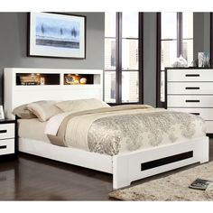Furniture Of America Kize Contemporary Two Tone Platform Bed With Light Up  Bookcase