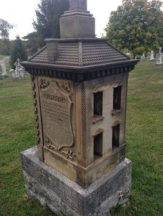 Victorian child's tombstone (actual functional dollhouse) - New St. Joseph Cemetary, Cincinnati, Ohio