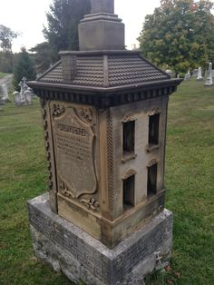 Victorian child's tombstone (actual functional dollhouse) - New St. Joseph Cemetary, Cincinnati, Ohio