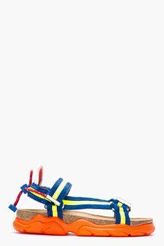 Dsquared2 Cobalt Blue Calf-hair Costaluxe Sandals for men | SSENSE $465