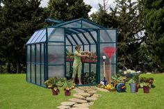 "Rion 8'6"" x 8'6"" Green Giant Premium Package Greenhouse GG-8-PR by Rion. $2440.48. Interior wall height: 6' 9"", Door frame height: 6' 9"". Translucent light-diffusing 6mm polycarbonate on all four sides and translucent light-diffusing 4mm polycarbonate on roof.. Double French Doors for easy access and additional ventilation if needed. Standard louvre windows that can be placed on the side or rear panels. Door height 6' 9"" and inside height at peak of 8.0"" for e..."