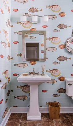 Channel your inner southern style with this fish wallpaper in the bathroom. Perfect for your beach front home. Coastal Wallpaper, Fish Wallpaper, Bathroom Wallpaper, Home Wallpaper, Beach Cottage Style, Beach House, Restaurant Bathroom, Home Decor Inspiration, Decor Ideas