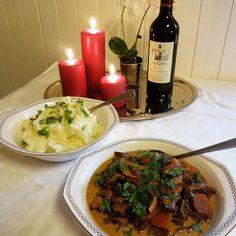 Edel's Mat & Vin : Elggryte med sopp ✿ Naturen i en gryte !! Beef, Food, Meat, Meal, Essen, Steaks, Steak