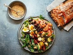 This beautiful Salmon Nicoise Salad is a spin on the classic tuna Nicoise salad. It is a perfect meal to prepare using leftover planked salmon.