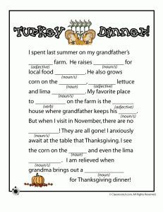 Thanksgiving Mad Libs from Classroom Junior - - Pinned by #PediaStaff.  Visit http://ht.ly/63sNt for all our pediatric therapy pins