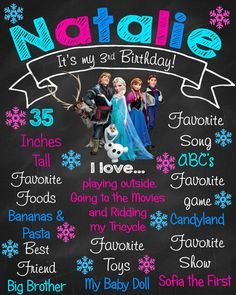 Frozen Chalkboard Birthday Sign by ChalkYourWay on Etsy. Also check out my Frozen theme tutus and party favors. www.partiesandfun.etsy.com