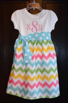 multi color chevron skirt on a t-shirt bodice with monogram