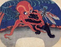 Octopus and Black Bear Wrestling with a Dragonfly Officiating • by Utagawa Kuniyoshi, c.1839