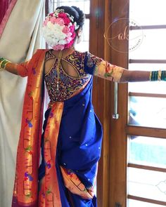 `Marathi weddings have a different vibe all together from other weddings. There is more colour, more traditions and the most unique aspect unique nauvari sarees to see! Wedding Saree Blouse Designs, Saree Blouse Neck Designs, Fancy Blouse Designs, Saree Blouse Patterns, Designer Blouse Patterns, Dress Designs, Indian Bridal Outfits, Indian Bridal Fashion, Nauvari Saree