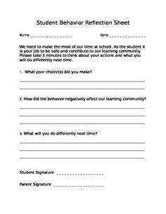 """Part of establishing an effective behavior management system is to set aside time for students to reflect upon their negative behavior. More importantly, students must problem solve and have an opportunity to correct it. This """"Behavior Reflection Sheet"""" is a simple and time efficient method for doing just that! *Teachers can also use this sheet as a documentation method to track student behavior."""