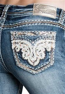 345c99c3d3a Grace in LA Jeans Bootcut Easy Fit with Paisley Pockets EB-5900 Cute Jeans