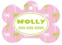 Personalized Palm Tree Pet Tag (Spring Time Design 9) with Toon Font