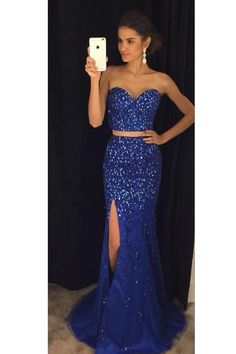 Sparkly Beaded Two Pieces Long Royal Blue Prom Dress Custom Made Sweetheart  Side Slit Evening Gowns PD280 dce0eac2de9a