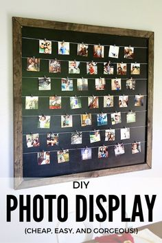 Gorgeous, simple, and easy DIY photo display for Instagram and family photos. Photos are clipped on so it's easy to change them anytime you want! // Love & Renovations