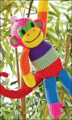 "FREE Crochet Pattern! Download this Patchwork Monkey pattern for FREE now through June 25th when you ""like"" the Crochet World Facebook page. Go here: http://www.facebook.com/CrochetWorldMag/app_571142309572937"
