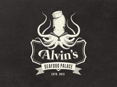 Dribbble - Alvin's Seafood Palace - Vintage Fantasy Logo Design by Mathias Temmen | #corporate #branding #creative #logo #personalized #identity #design #corporatedesign < found on www.downgraf.com pinned by www.BlickeDeeler.de | Visit our website www.blickedeeler.de/leistungen/corporate-design/logo-gestaltung