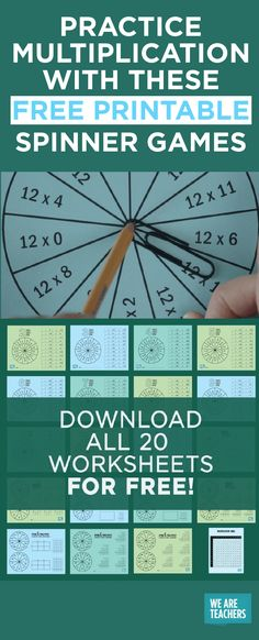 How To Produce Elementary School Much More Enjoyment Free Multiplication Games Printable Packet - Spinner Games - Weareteachers Math Multiplication Games, Math Fractions, Math 5, Spin, We Are Teachers, Free Math Worksheets, Printable Worksheets, Cycle 2, E Mc2