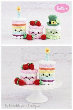 Crochet Cake, Crochet Food, Crochet For Kids, Crochet Things, Crochet Amigurumi Free Patterns, Crochet Doll Pattern, Free Crochet, Crochet Stitches, Easy Sewing Patterns