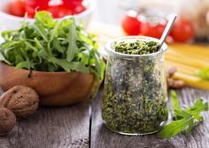 """""""Spinach or Arugula Pesto Recipe"""" You can learn how to make this Spinach or Arugula Pesto Recipe using olive oil, garlic, cheese and spinach or arugula to create a delicious no-cook sauce perfect for pasta. From MOTHER EARTH NEWS Wine Recipes, Real Food Recipes, Vegetarian Recipes, Cooking Recipes, Healthy Recipes, Cooking Tips, Arugula Pesto Recipe, Chutney, Vegetarian"""