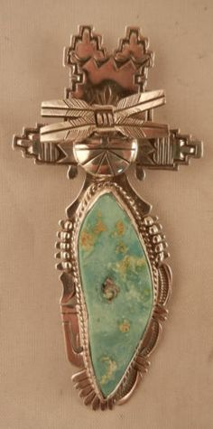 Navajo-Bennie-Ration-Large-Turquoise-and-Sterling-Silver-Maiden-Pendant