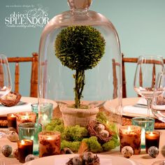 Bell jar centerpieces give you an infinite amount of ideas for table centerpieces. Flameless candles could be used even inside the jar!