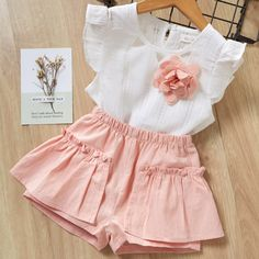 Kids Girls Clothing Sets Summer New Style Brand Baby Girls Clothes short Sleeve T-Shirt+Pant Dress Children Clothes Suits Short Outfits, Kids Outfits, Toddler Outfits, Summer Vest, T Shirt And Shorts, Matching Family Outfits, Two Piece Outfit, Baby Outfits Newborn, Kind Mode