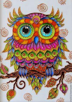 Купить Совушка витражная роспись стекла - комбинированный, сова, птица, Витражная роспись, витражная картина