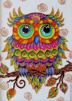 Amazing rainbow owl , Pebeo vitrail