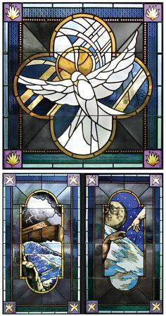 Contemporary Stained Glass, Conrad Schmitt Studios Original Design, Our Lady of the Isle, Grand Isle, Louisiana