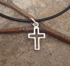 Boy's cross necklace -Boy's First Communion cross - Sterling silver cross necklace on leather cord. $26.00, via Etsy.