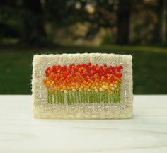 Orange Spring Field Hand Embroidered Brooch Pin by Sidereal, $28.00