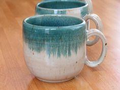 Coffee Mug Handmade Stoneware Pottery Mug Olive by InsCeramics