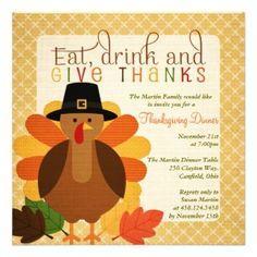 Give Thanks Thanksgiving Invitation Thanksgiving Dinner Autumn ...