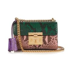 Gucci Mini padlock python shoulder bag ($2,850) ❤ liked on Polyvore featuring bags, handbags, shoulder bags, green multi, snake skin purse, mini shoulder bag, snakeskin handbags, mini handbags and python handbag