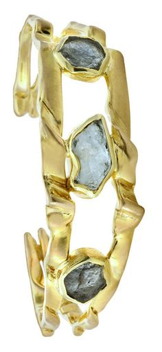 Diana Widman Design — Big Sky Sappho Cuff- Montana rough sapphires- 14kt gold.