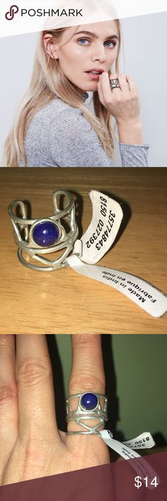 NWT Free People caged cuff ring Silver ring with blue stone, slightly adjustable Free People Jewelry Rings