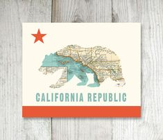 California Bear Flag Art Print with Vintage by FleaMarketSunday, need this with a nor cal focused map