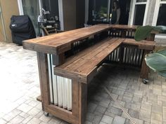 Walnut L shaped Kitchen - x 2 level L shaped rustic wood and corrugated metal outdoor patio bar Rustic Outdoor Bar, Rustic Outdoor Kitchens, Outdoor Patio Bar, Outdoor Kitchen Bars, Backyard Bar, Outdoor Kitchen Design, Outdoor Living, Outdoor Bars, Rustic Bars