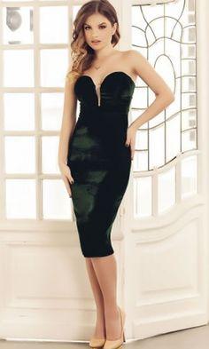 Rochie catifea verde de seara midi eleganta cu spate gol Strapless Dress, Black, Dresses, Fashion, Vestidos, Green, Strapless Gown, Moda, Black People