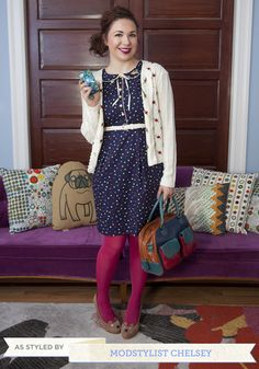 Shop ModCloth for our assortment of the women's tights, printed, opaque and polka dot! Get OFF when you buy 2 pairs of tights at ModCloth! Zooey Deschanel, Colored Tights Outfit, Coloured Tights, Taylor Swift, Pantyhose Outfits, Hipster, Leggings, Business Casual Outfits, Fashion Gallery