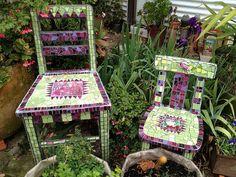 Green mosaic chairs