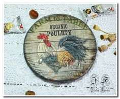Wooden Cheese  board Serving board Round Rooster board Board for cheese Wooden…